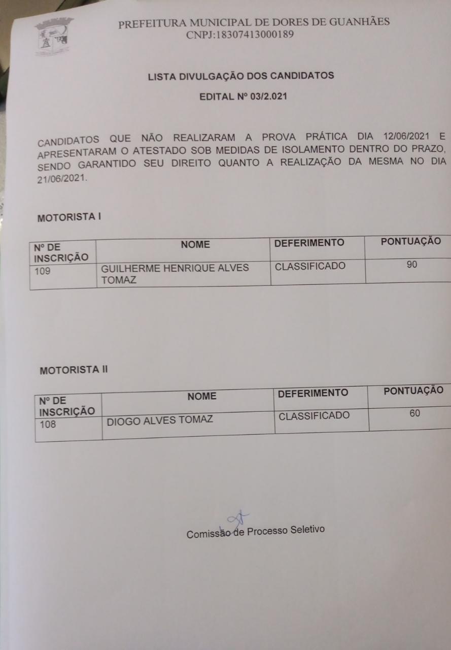 Lista de candidatos que estavam de quarentena e mantiveram direitos garantidos quanto a prova prática do processo 03/2021